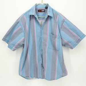Vintage Blue & Gray Striped Button Up Shirt
